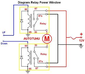 wiring diagram relay power window |rangkaian relay power window mobil