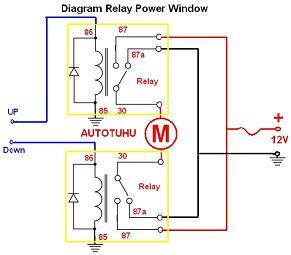 wiring diagram relay power window |rangkaian relay power window mobil |  autotuhu indonesia